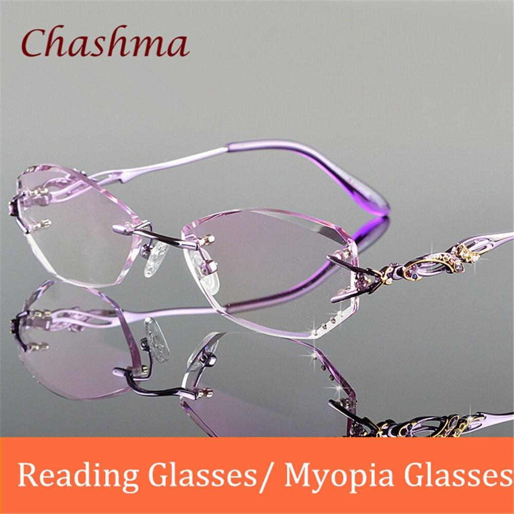 Chashma marque lentilles de teinte de luxe myopie lunettes lunettes de lecture diamant sans monture lentilles de couleur verres de Prescription cadre femmes