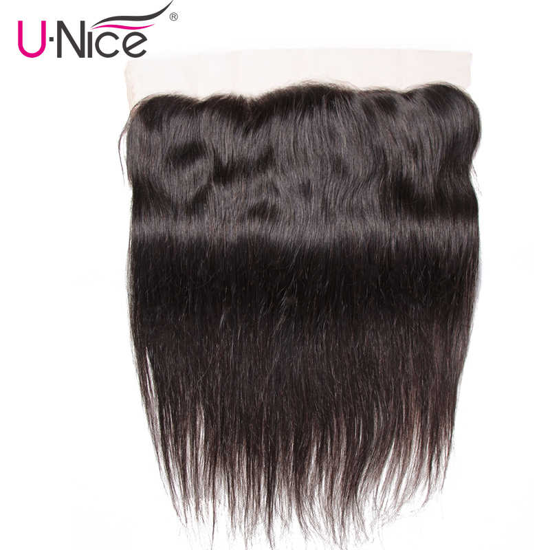 UNice Hair Indian Straight Lace Frontal Closure 13*4 Ear to Ear Human Hair Lace Frontal Free Part Remy Hair Free Shipping