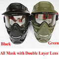 High qiality Tactical military anti fog lens face double mask new paintball Air soft  Games Goggles