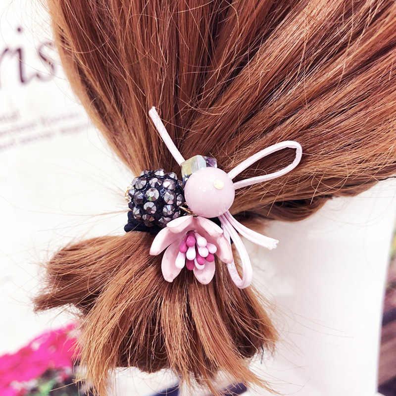 37ea932a0f7 Sale 1PC 3D Flowers Pearl Elastic Hair Bands Hair Scrunchies Bun Ring Bow  Rope Rhinestones Ball