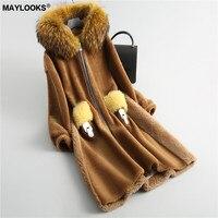 MAYLOOKS осень и зима Новый Шерсть Мех животных пальто женский длинный отрезок кос волос с капюшоном ягненка пальто 18087