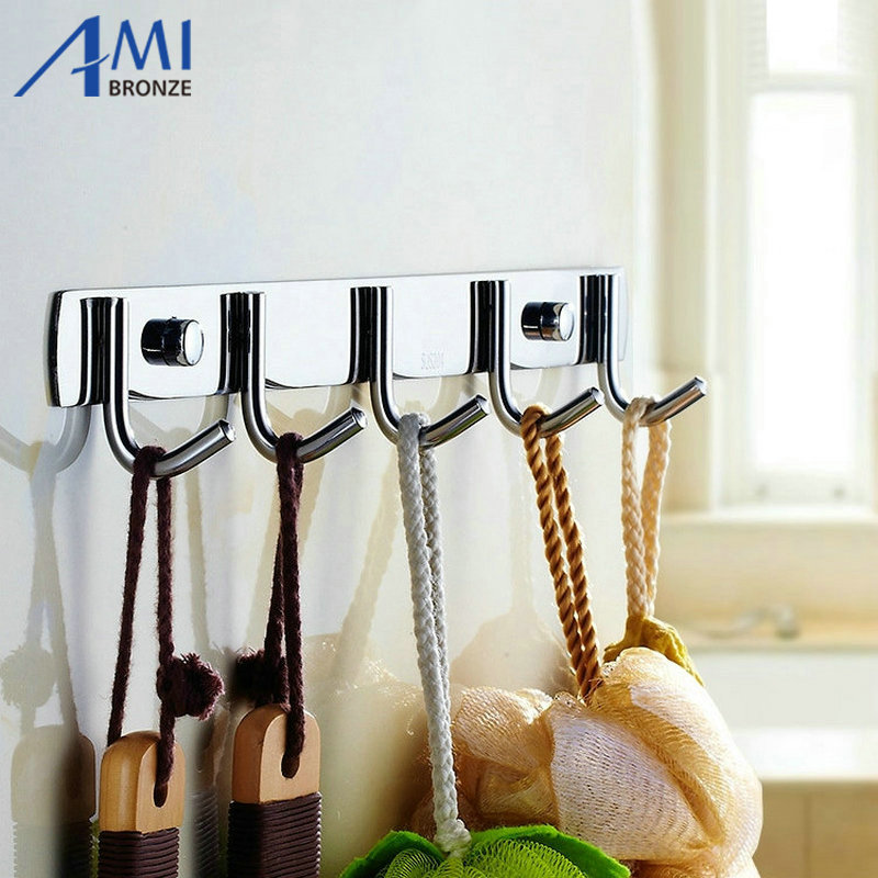 Chrome Polished Clothes Hook Bathroom Hardwares Accessories Robe Hooks Wall  Mounted 5 Hooks Door Hook(