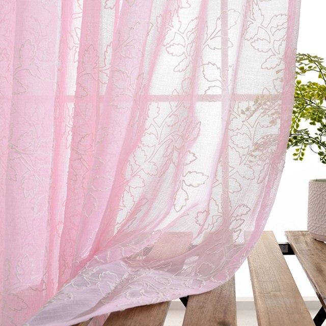 Online Shop Modern Curtain fancy White pink blue leaves Plant ...