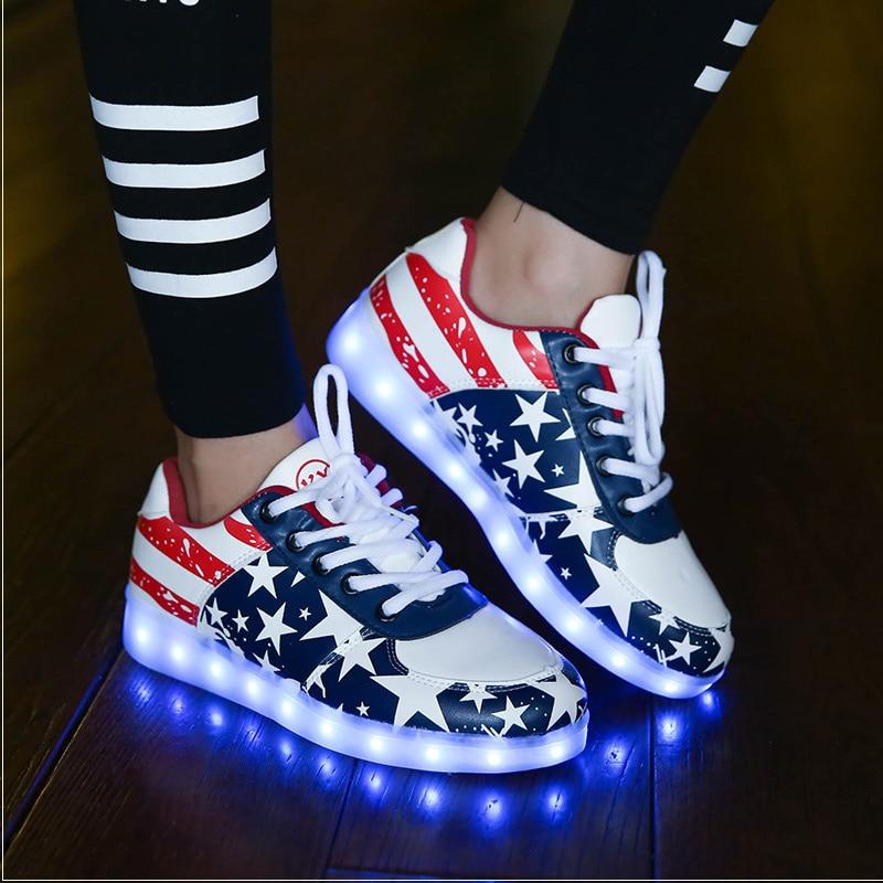 Zapatos de Los Hombres Zapatos Casual Colorido Luminoso Led Luz Led Up USB Recar