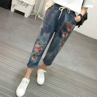 2018 women embroidery jeans with high waist female jeans with embroidery boyfriend jeans for women CC266