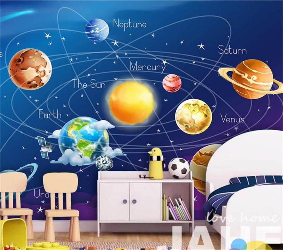 3d wallpaper photo wallpaper custom kids room mural blue cosmos planet Earth and Moon painting sofa TV background wall sticker