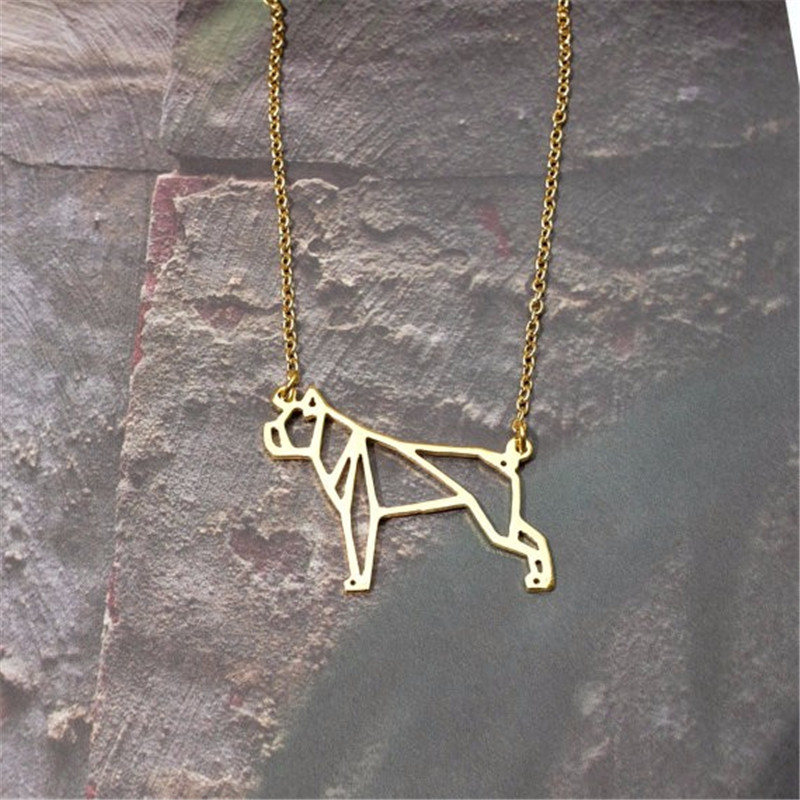2017cute pet Origami Boxer dog Pendant Choker Necklace for women girls delicate Christmas gift Jewelry