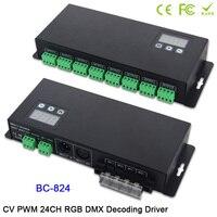 BC 824 DC5V 24V 24 CH DMX512/1990 декодер сигналов драйвер 3A * 24CH с дисплей показывает RGB DMX512 контроллер для светодиодные