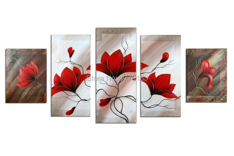 Oil Painting Ideas Easy Artist Directly Modern Hand Red White Flowers