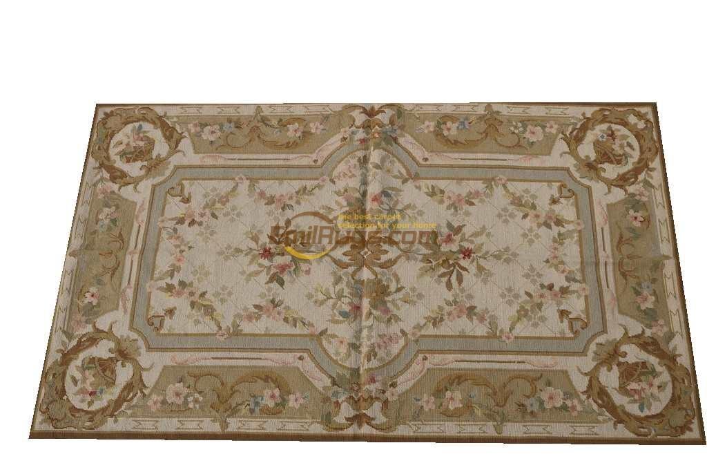 Antique 19th siècle Point brodé à la main tapisserie Aubusch tapis tapis Double noeuds tissé à la main tapis tricoté à la main tapis