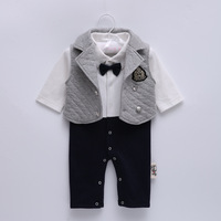 High Quality Spring Autumn Baby Boy Rompers Gentleman Style Long Sleeves Infant Jumpsuit Vest Baby Clothing
