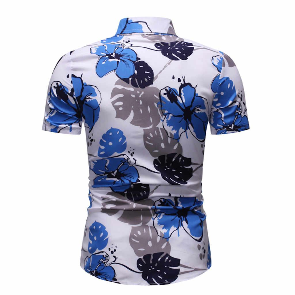 Osobowość męska bluzka w roślinny wzór letni dorywczo szczupły krótki rękaw koszula bluzka mężczyzna Camisas De Hombre 2020 nowa koszula hawajska