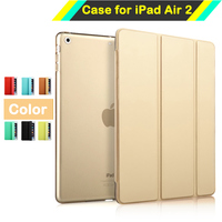 Ultra Thin Colored Smart Case Cover For Apple IPad Air 2 IPad 6 PU Leather Tablet