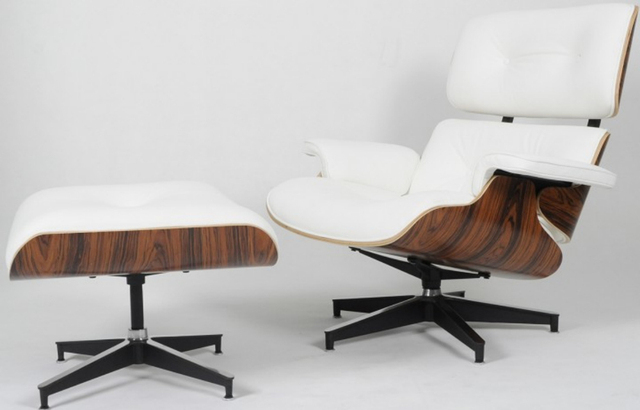 Eames Lounge Chair Black Aniline Leather/Alu Base/HM Version/Rose Wood/