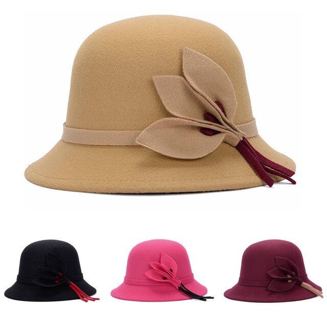 4c75521695c1c Elegant Ladies Fedoras Floral Women Bucket Hat Ladies Sun Cap Winter Felt  Warm Hat Wool Flower Floppy Trilby Bowler Caps 57-58cm