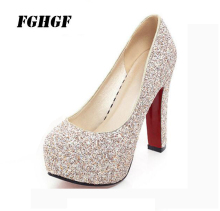 One-shoe heel high-heel wedding shoes white sequins bridal shoes nightclub princess bridesmaid shoes 12cm high size 34-43 цена