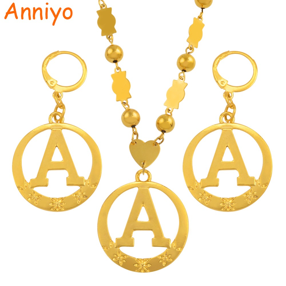 все цены на Anniyo A-Z 60CM Beads Letters Necklaces Gold Color Marshall Initial Alphabet Ball Chain Micronesia Jewelry #128006