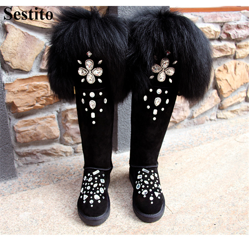 Fashion Black Crystal Feather Keep Warm Woman Boots Round Toe Over-the-Knee Boots Women Flat With Slip-on Winter New Women ShoesFashion Black Crystal Feather Keep Warm Woman Boots Round Toe Over-the-Knee Boots Women Flat With Slip-on Winter New Women Shoes