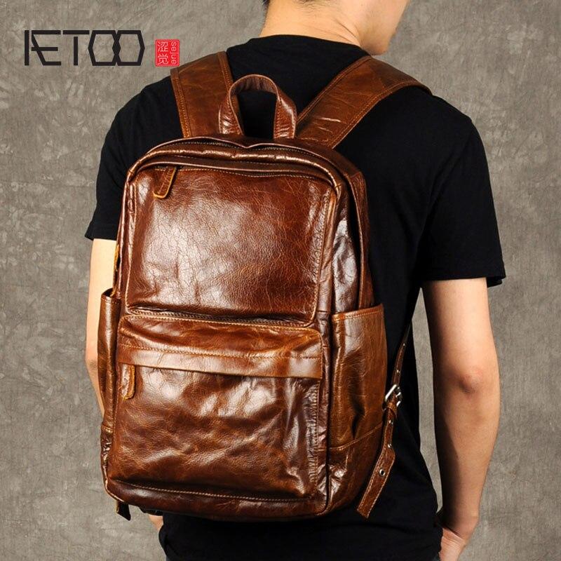 AETOO Ретро масло воск рюкзак мужской кожаный мешок тенденция Баотоу Досуг компьютер слой кожаный рюкзак