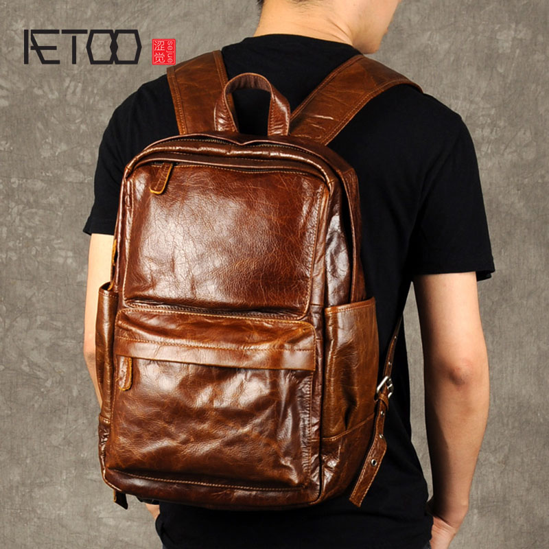 AETOO Retro oil wax backpack male leather bag trend of Baotou leisure computer layer of leather backpack aetoo oil wax belt shoulder leather genuine male cowboy backpack casual retro travel bag computer bag tide