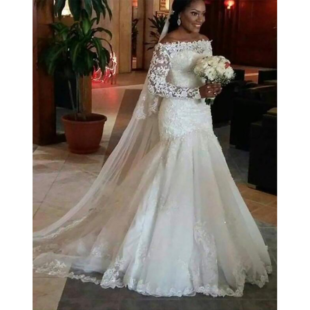 Fansmile New Long Sleeve Vestido De Noiva Lace Wedding Dress 2019 Customized Plus Size Pearls Bridal Wedding Gowns FSM 512M-in Wedding Dresses from Weddings & Events