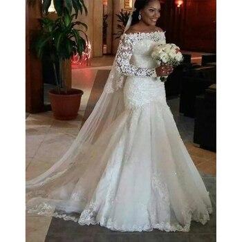 Fansmile New Long Sleeve Vestido De Noiva Lace Wedding Dress 2020 Customized Plus Size Pearls Bridal Wedding Gowns FSM-512M