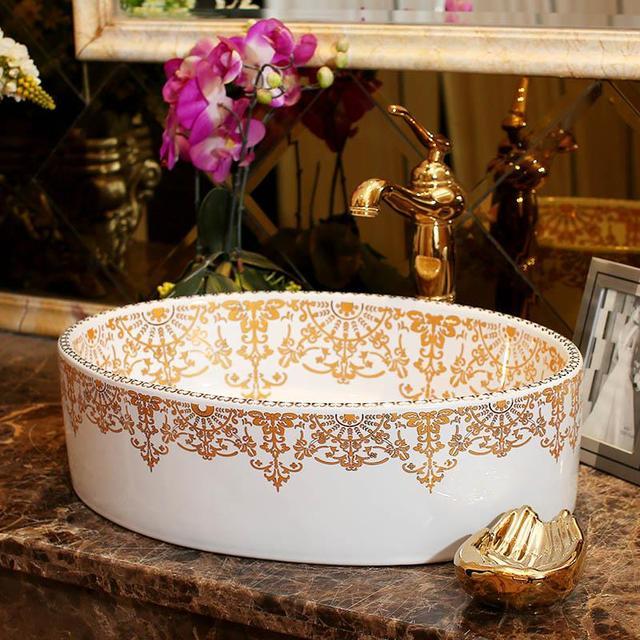 Hervorragend Ovale Form Europa Stil Jingdezhen Keramik Waschbecken Waschbecken Keramik  Arbeitsplatte Waschbecken Badezimmer Waschbecken Designer Vessel Sinks