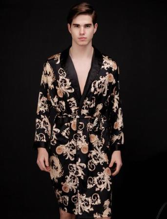 2018 summer 100% real silk robe mens bathrobe male loungewear print pajamas for winter turn-down collar yukata japanese kimono