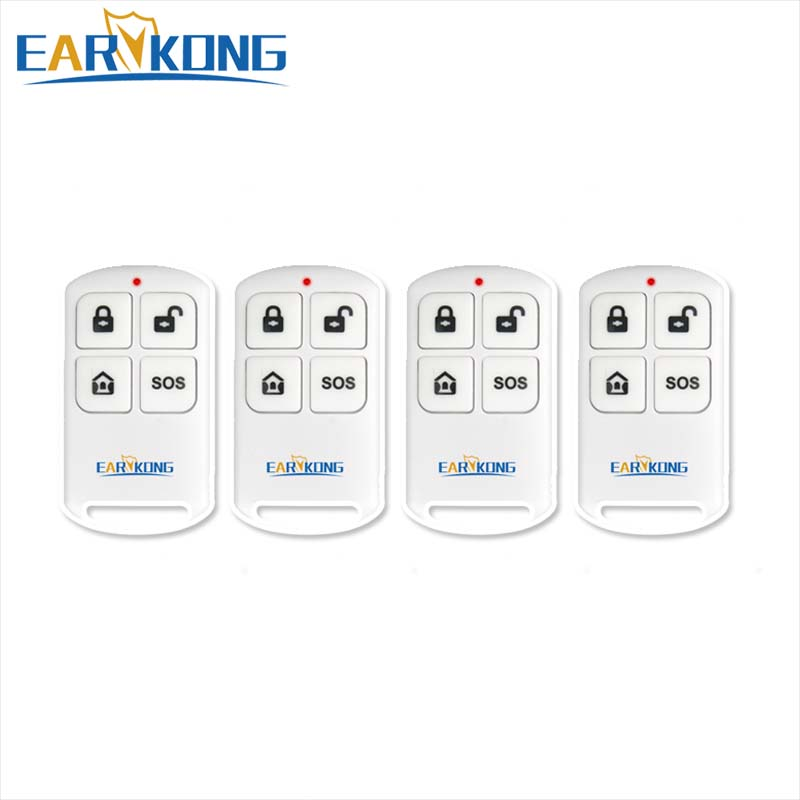 433MHz Wireless Remote Controller For W2B Or PG103 Wifi Alarm System Battery Inside, 4 Button Key Chain.