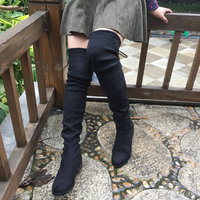 Women Stretch Suede Over The Knee Boots Flat Thigh High Boots Sexy Fashion Plus Size Shoes