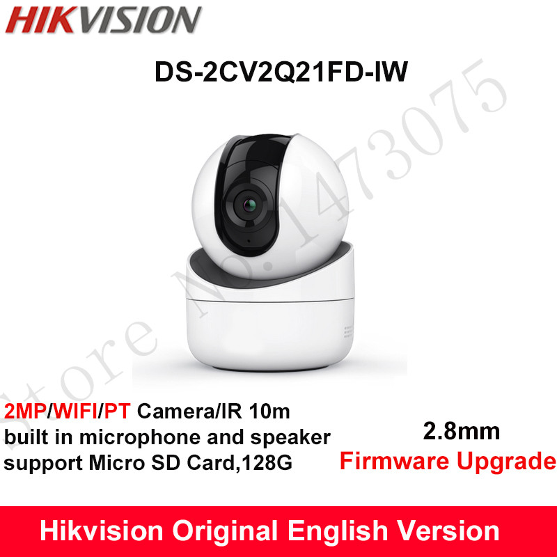 Hikvision English mini wifi PT Camera HD1080P CMOS PT IP Camera built in microphone and speaker SD Card 128G DS-2CV2Q21FD-IW