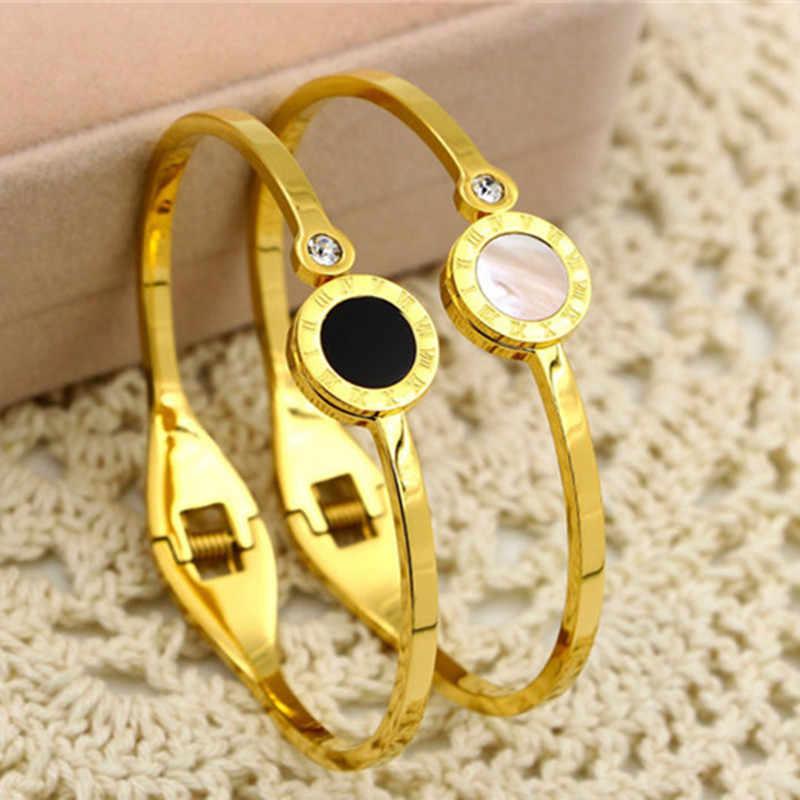 Czarny/biały Shell bransoletka dla kobiet biżuteria kryształowe cyfry rzymskie bransoletki i bransolety luksusowe marki miłość mankiet Bangle K0053-1