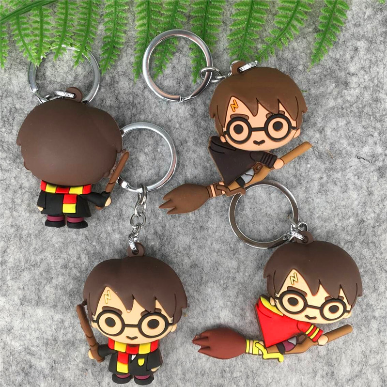 HP Movie Young Potters Keychain Broom Flying Wand Harried Quidditch Bag Gifts Kids Party Dobby Hedwig Ron Hermione Dumbledore