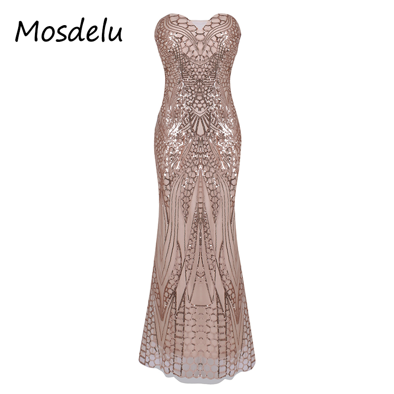 Mosdelu Vintage Lace Up Sequined Party Dresses Women Sexy Retro Bodycon Mermaid Dress Pink Gatsby Cocktail