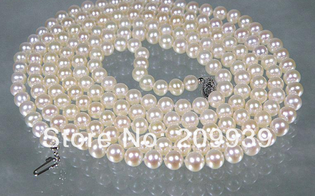 Бесплатная доставка Лидер Продаж Благородный >>>@@ as3339 Подлинная AAA + 6.5 7 мм круглый белый крем Akoya моря жемчужное ожерелье подарок на 50