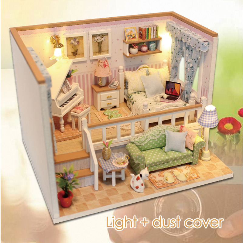 DIY 3D Light Furniture Dust Cover Wooden Miniature House Because I Met You Dollhouse Toys for Children Christmas Birthday Gifts