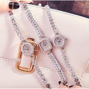 Image 5 - Volledige Crystal Royal Crown Dame Vrouwen Horloge Japan Quartz Uur Fijne Mode sieraden Klok Armband Luxe Meisje Gift