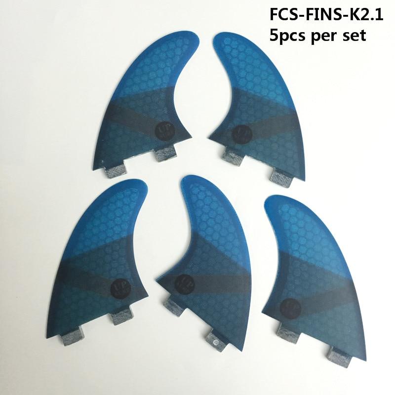 FCS K2.1 fcs ailettes en fiber de verre ailettes 5 par set tri-quad fin set planche de surf ailettes 4 couleurs vert /bleu/rouge/gris upsurf logo