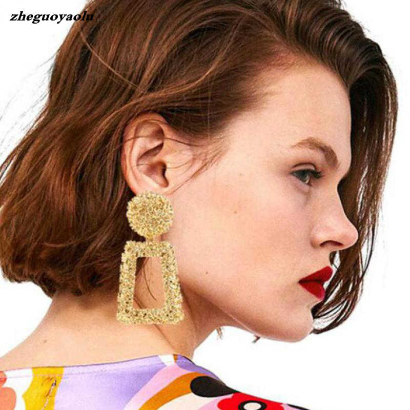 Vintage Large Earrings Ladies Declaration Earrings Geometric Gold Metal Earrings 2018 Earrings Pendant Fashion Trends Jewelry