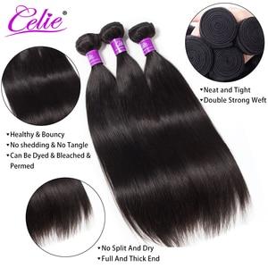 Image 2 - Celie Haar 5X5 Sluiting Met Bundels Remy Human Hair 3 Bundels Met Sluiting Braziliaanse Steil Haar Bundels Met sluiting