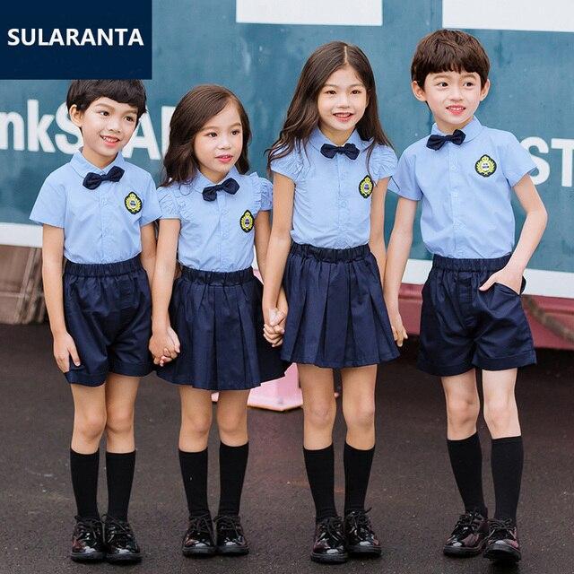 children japanese korean school uniform for girls boys blue shirt