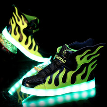 Boys Girls USB Charger led Children Shoes with Light Kids Wing Flashing Lighted Luminous School Sneakers Free Shipping