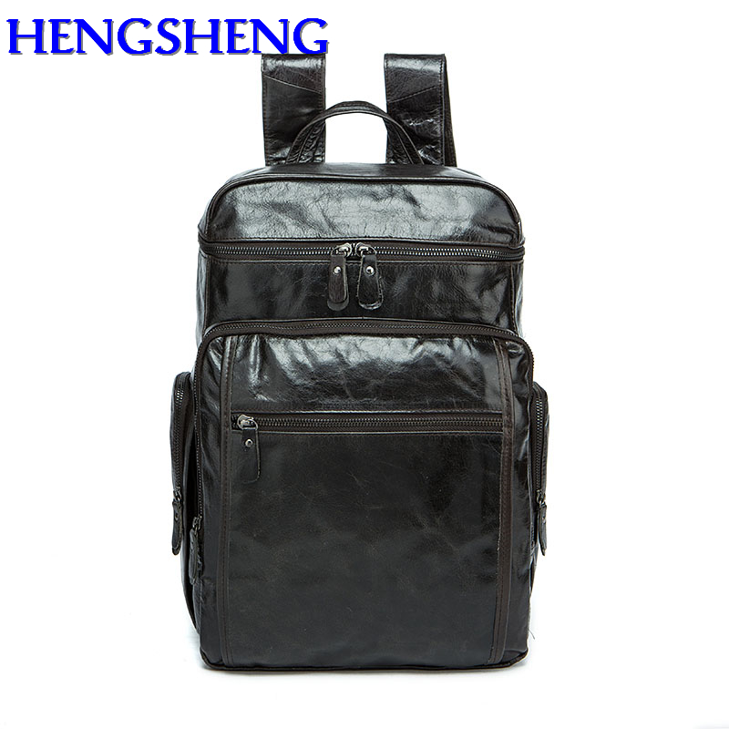 Hengsheng fashion black genuine leather men backpack for students cow leather school bags with cow layer leather men backpacks