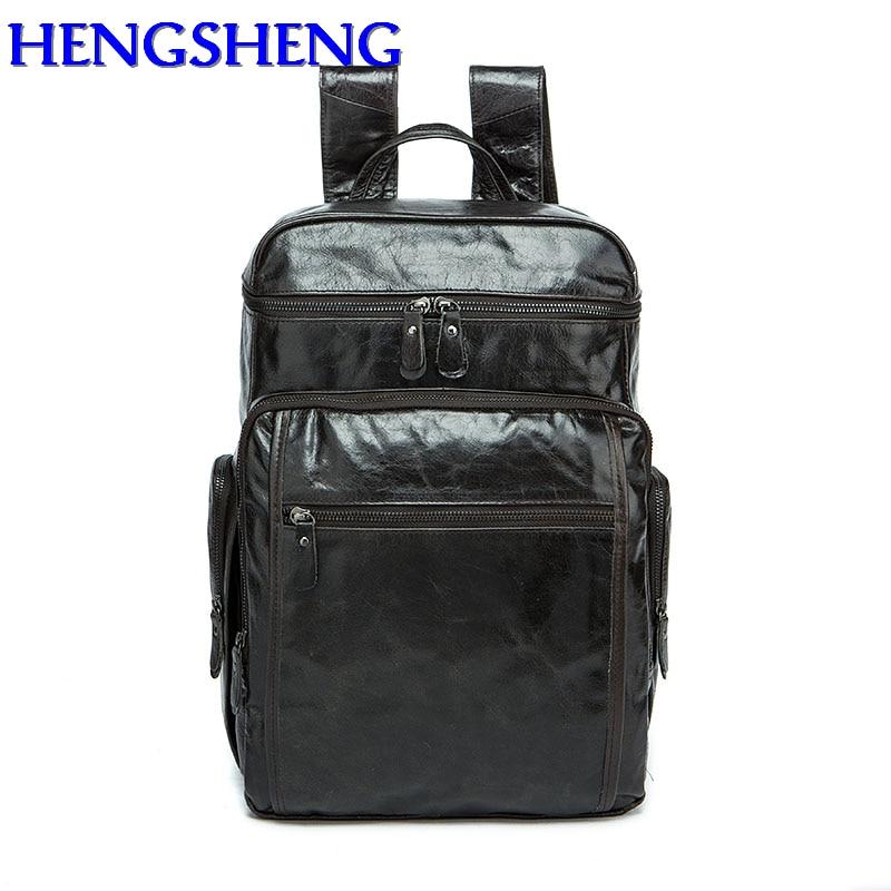 все цены на Hengsheng fashion black genuine leather men backpack for students cow leather school bags with cow layer leather men backpacks