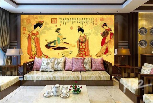 Kustom Foto Wallpaper Mural Dinding Ruang Tamu Stiker Wanita Grafik Lukisan Non Woven