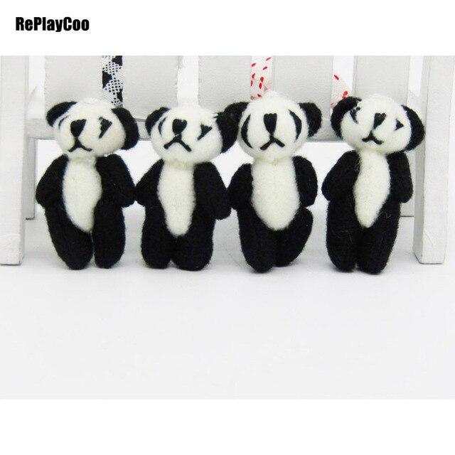 50 unids/lote kawaii pequeña articulación pandas oso de peluche ...