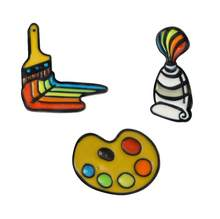 1 Pcs Hot Painting tools Enamel pin Paint pigment Palette Brush Pin Brooch Shirt coat lapel pin Buckle Badge Gift for Friend kid(China)