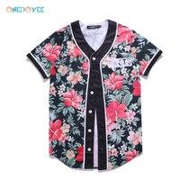 Onedoyee 2018 Summer Wear Men Baseball Jerseys Short Sleeves 3D Floral Print Brand Base Player Jersey