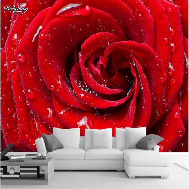 Beibehang Mur Papier Hd Gouttes Clair Rouge Roses Salon Hotel Tv