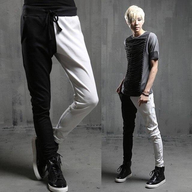 2014 Новая мода шаровары Брюки тонкий личность черный и белый лоскутное мужские тощие штаны Случайные штаны